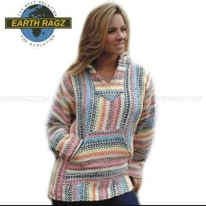 EARTH RAGZ striped baja boho Mexican Beach hoodie